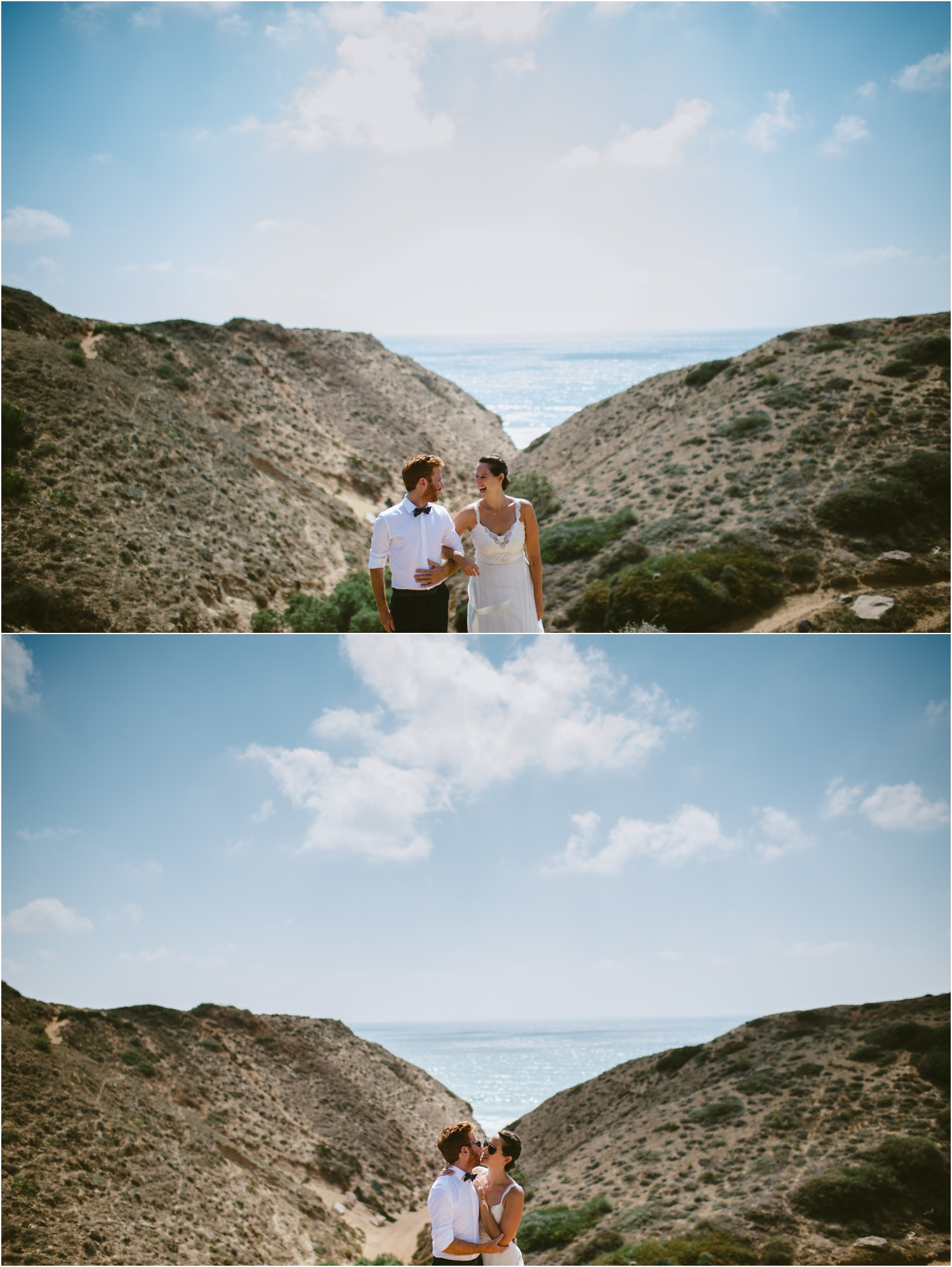 bride and groom on sand dune in central israel