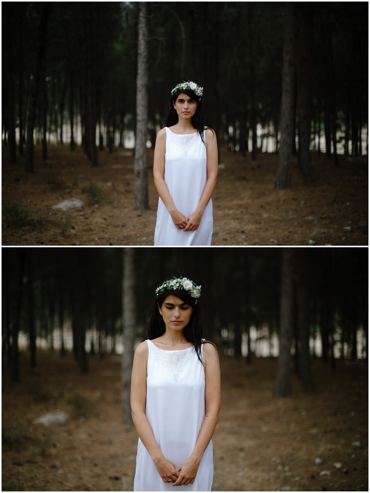 bride's portraits in forest