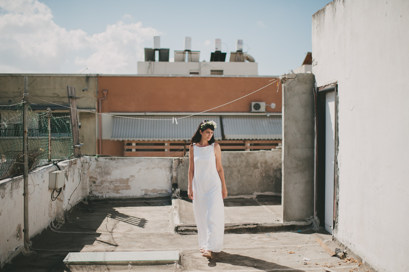 bride on urban rooftop