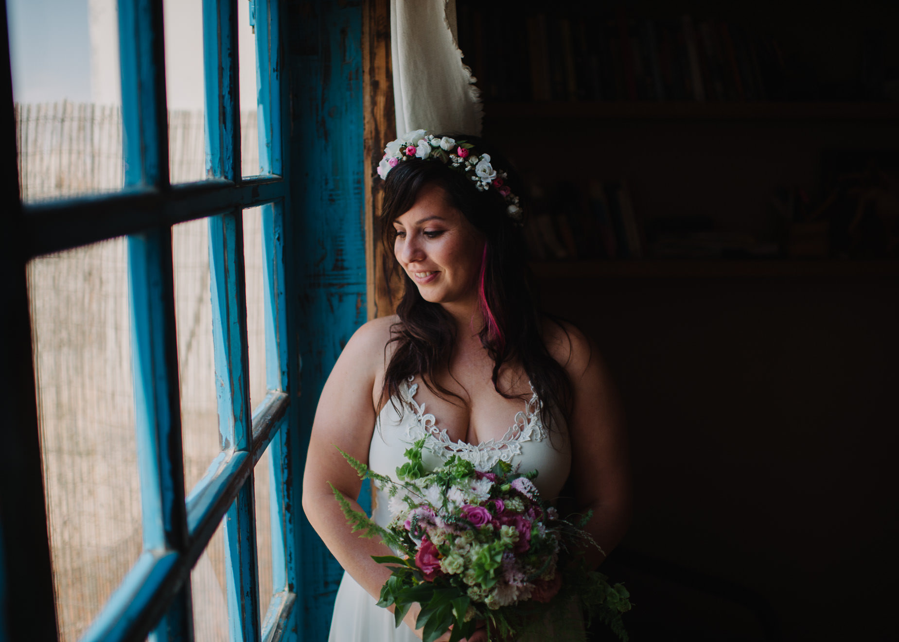 bridal smiling in window portrait