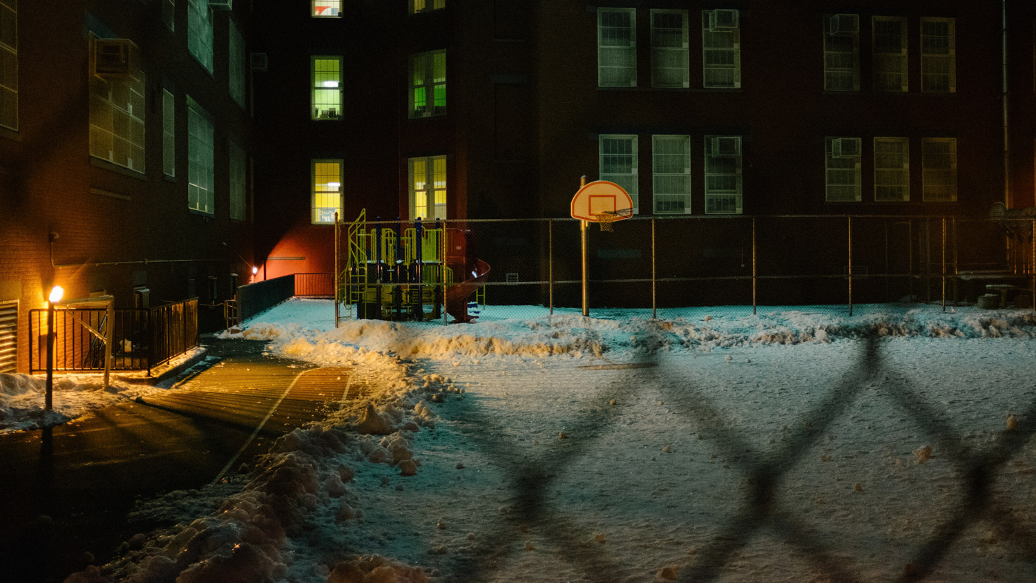 basketball court with snow in Brooklyn