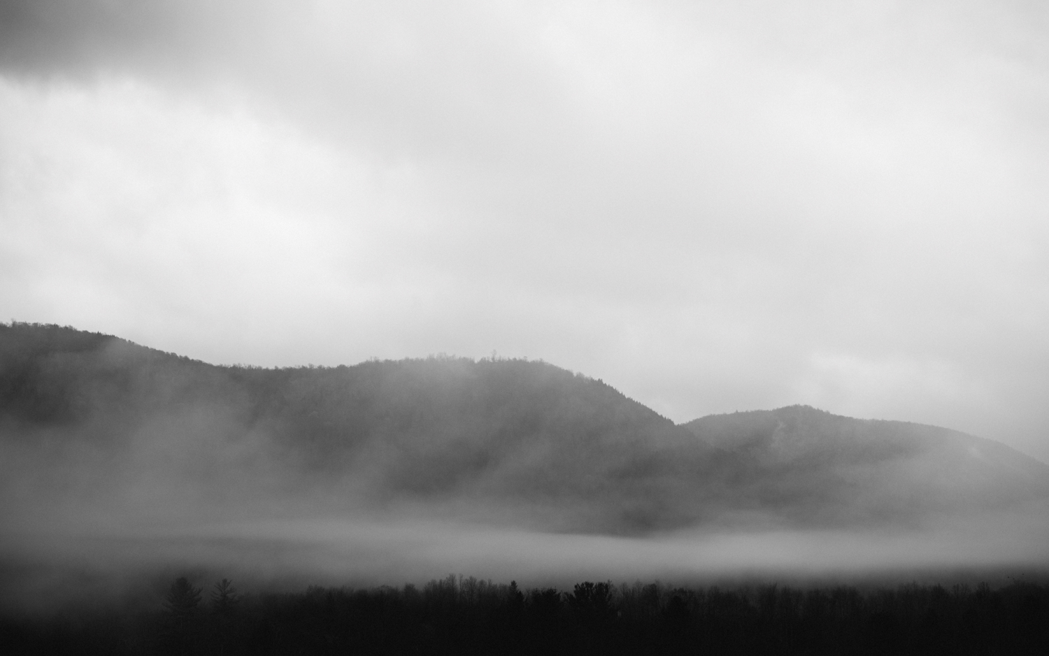 foggy mountains in vermont