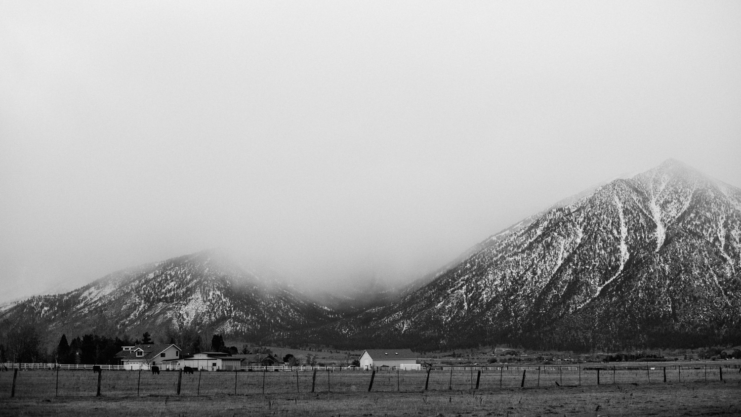 farm and snowy mountains in black and white