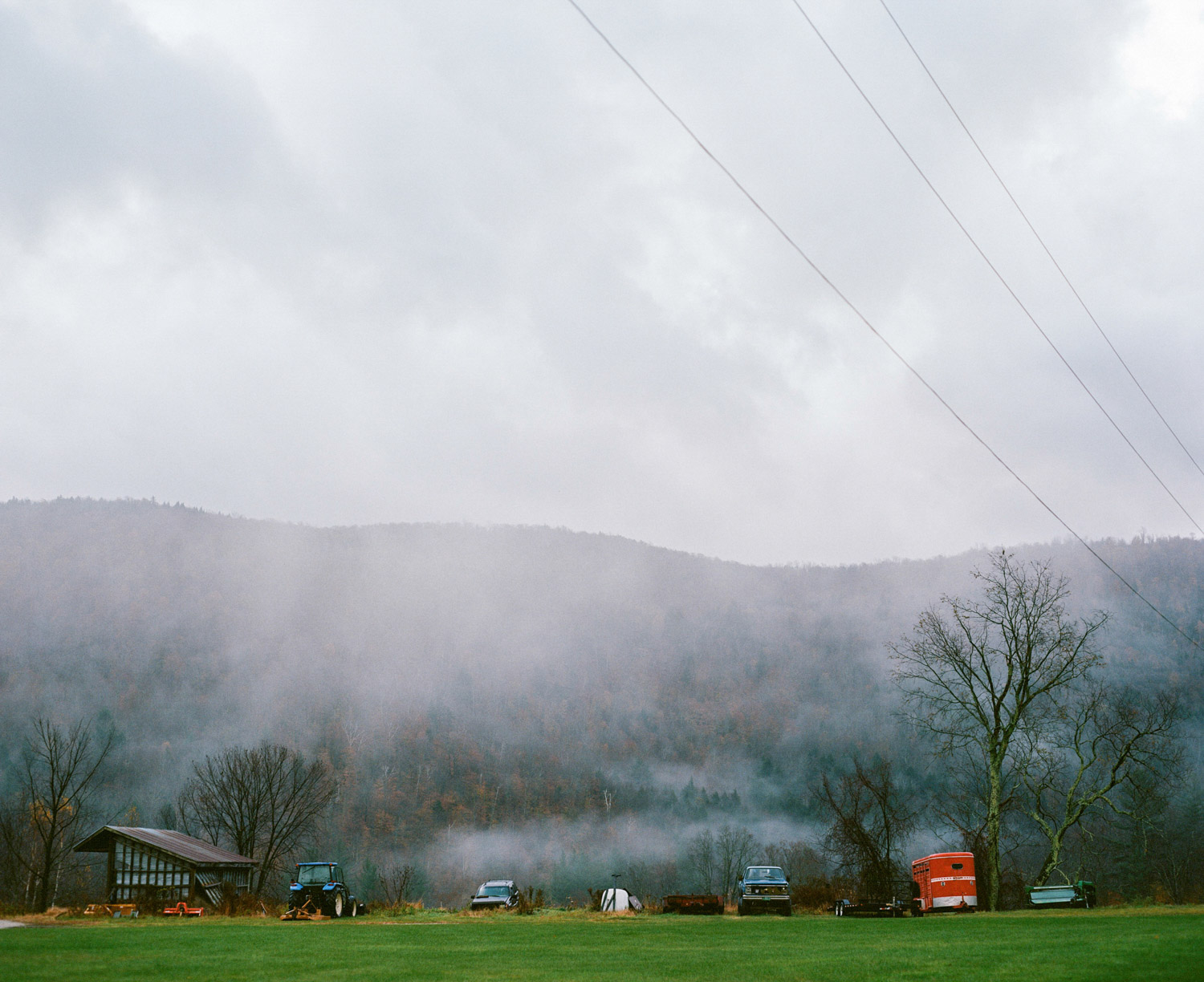 Pittsfield Vermont farm on foggy day