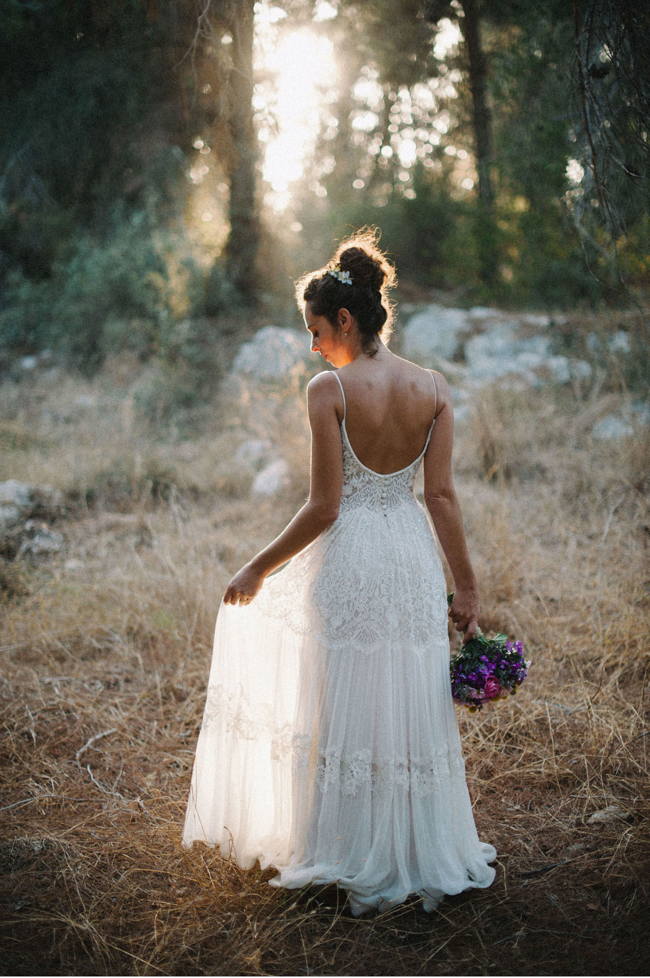 bridal portrait in forest