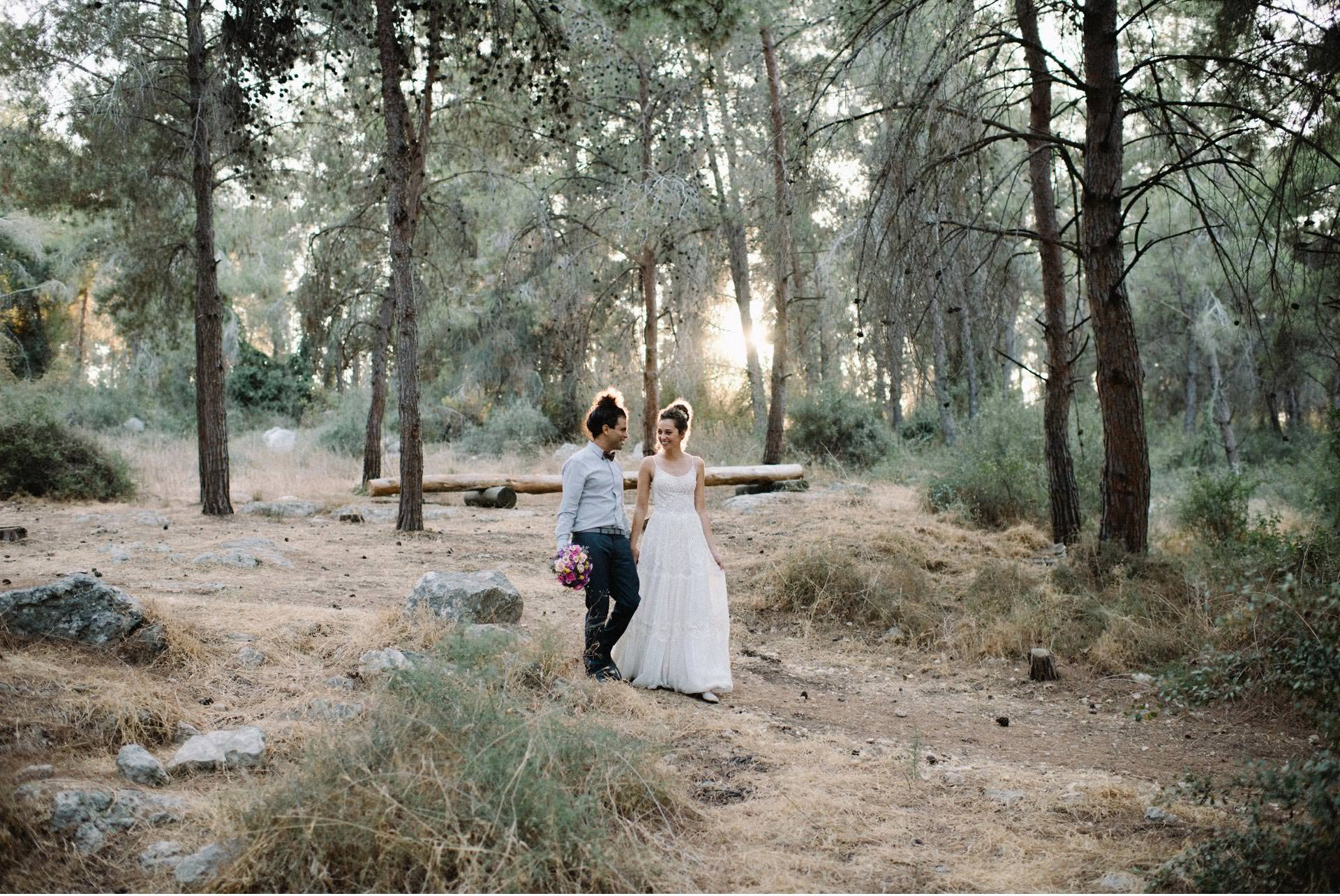 bride and groom in israel forest