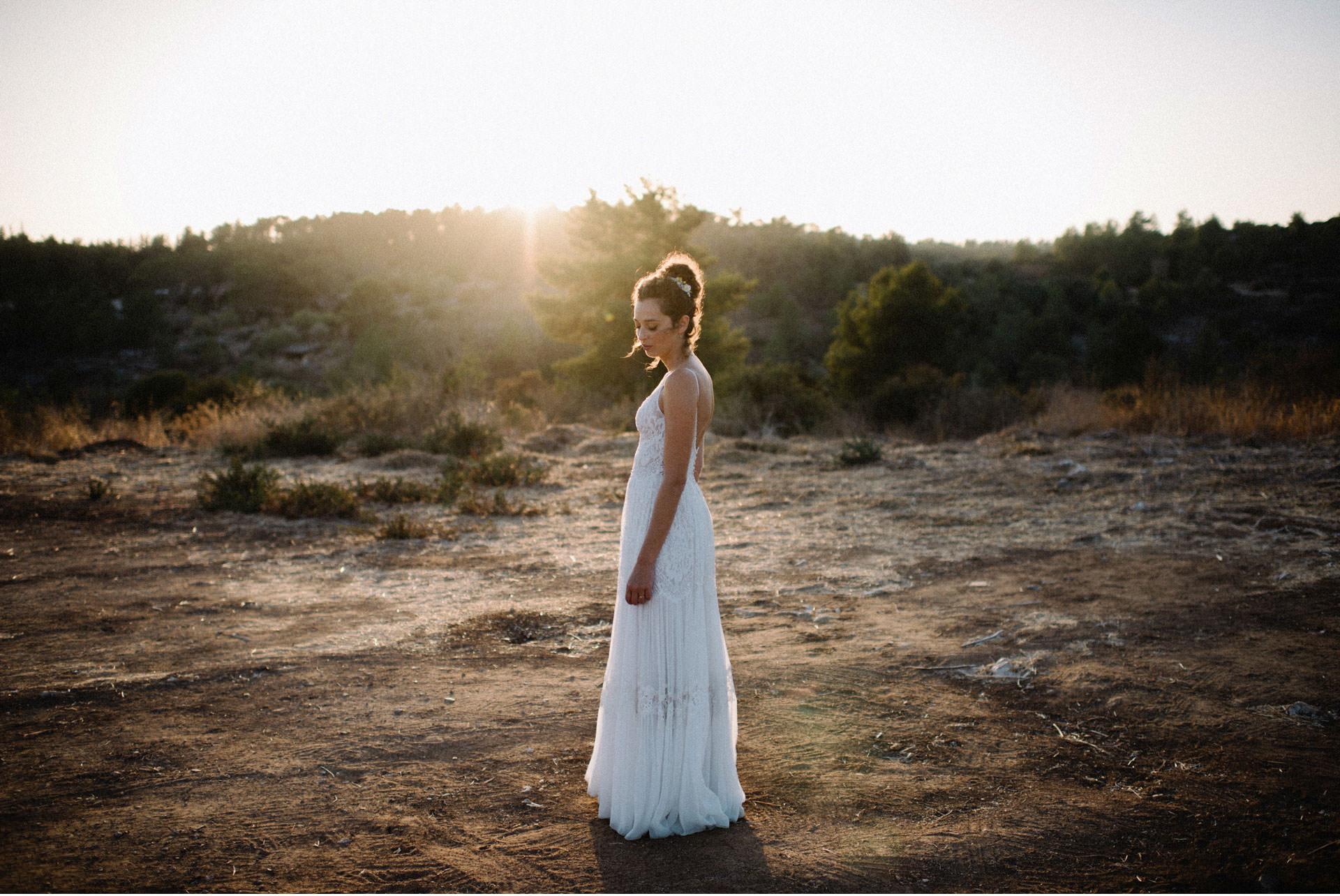bridal portrait in the sun