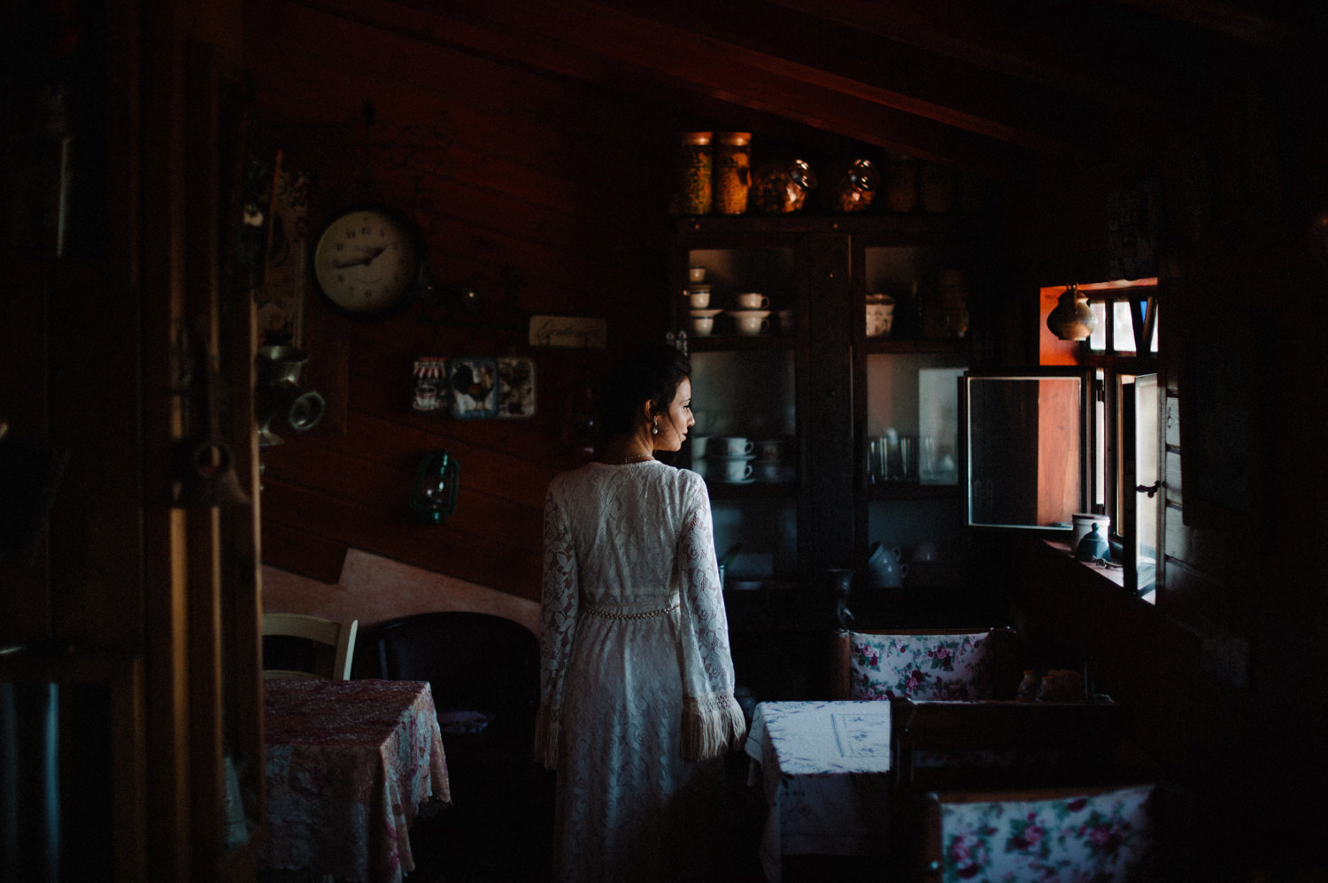 bride in cabin