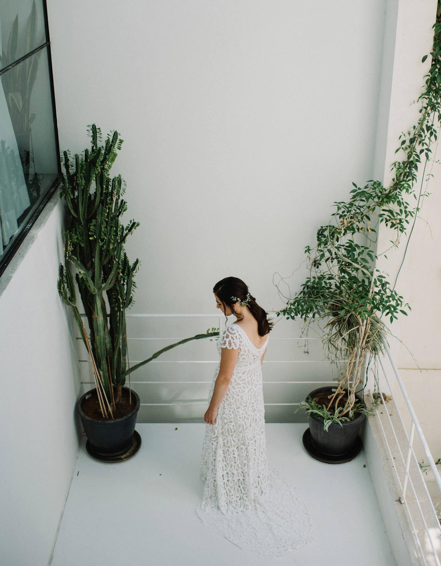 bride portrait in airbnb apartment