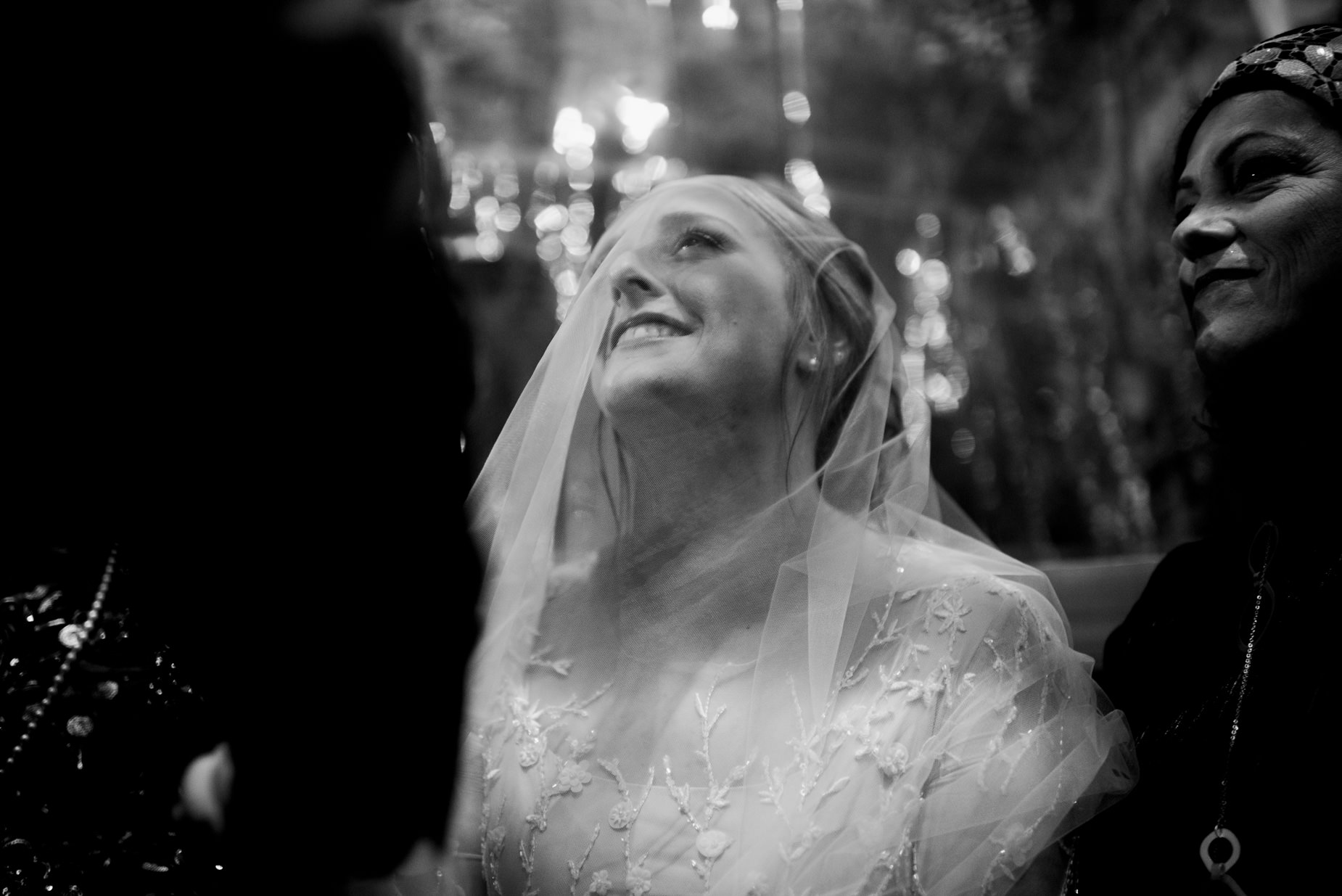bride staring at groom before ceremony