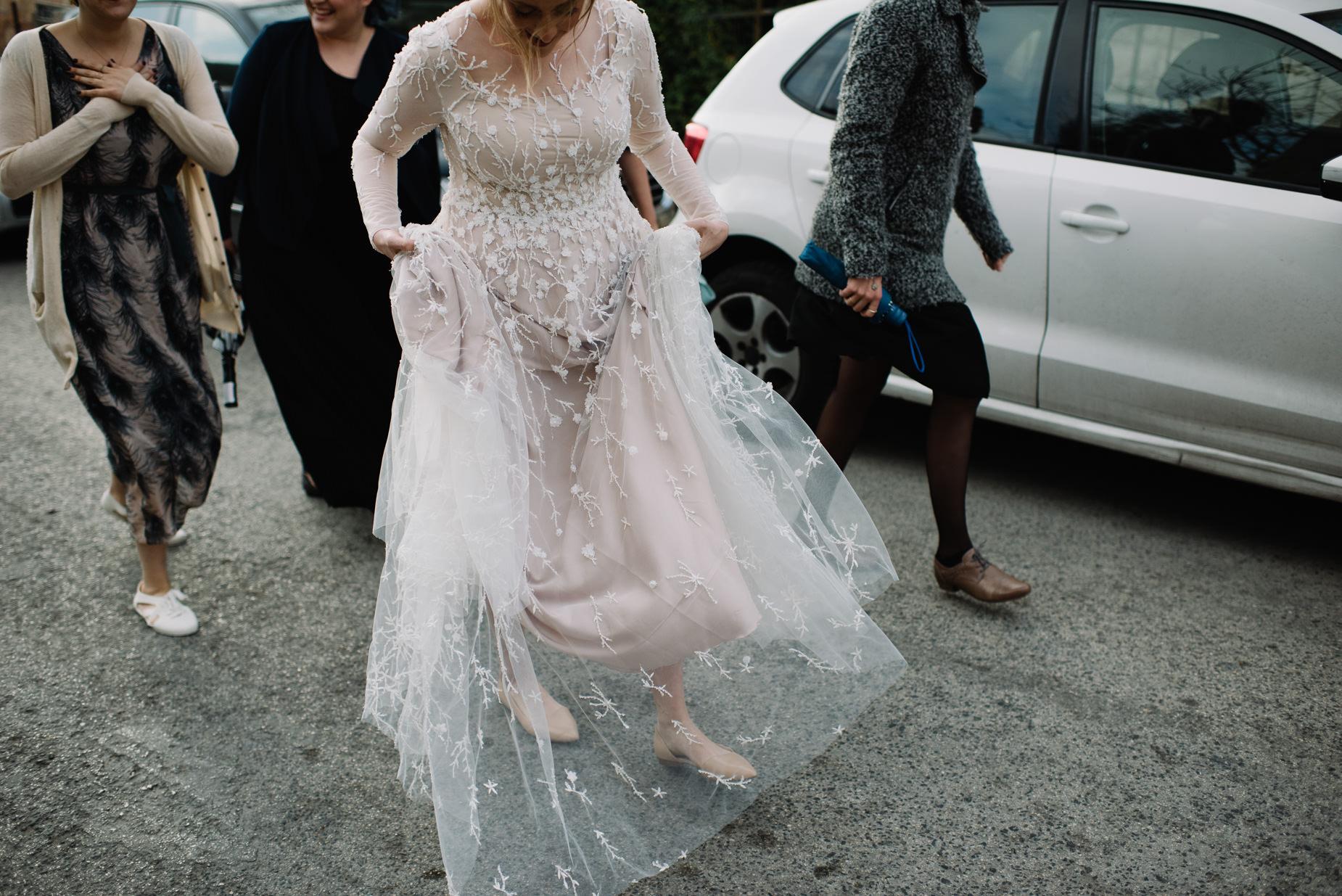 bride with dress in Jerusalem