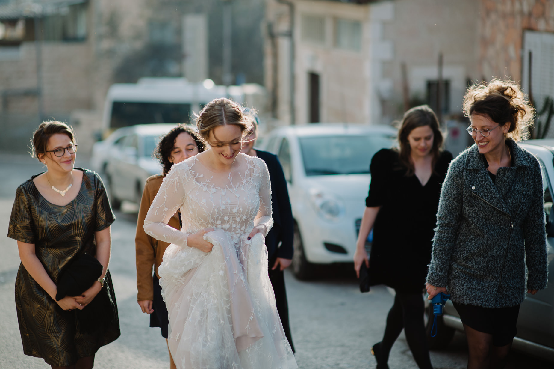 bride and friends in Jerusalem