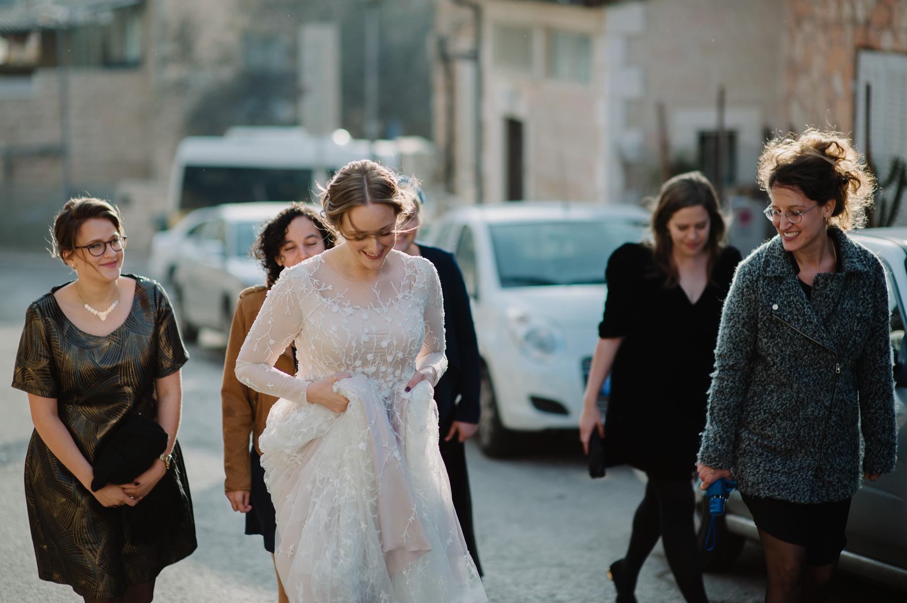 bride and friends in Jerusalem